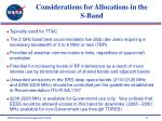 considerations for allocations in the s band