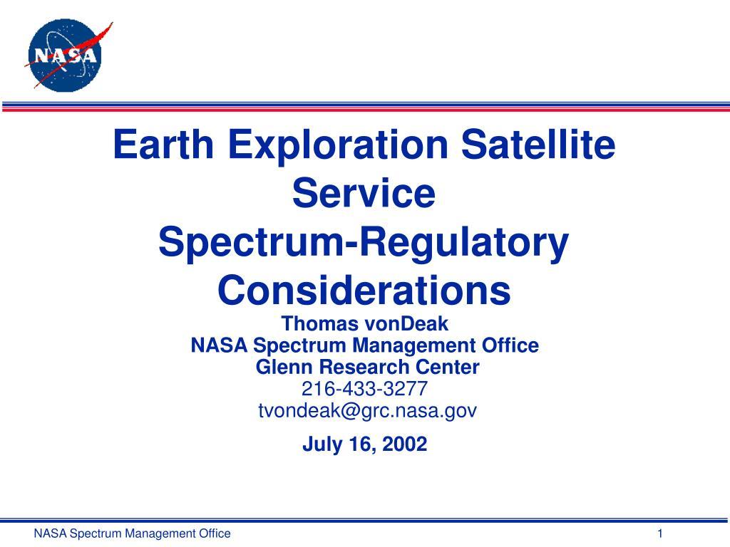 earth exploration satellite service spectrum regulatory considerations l.