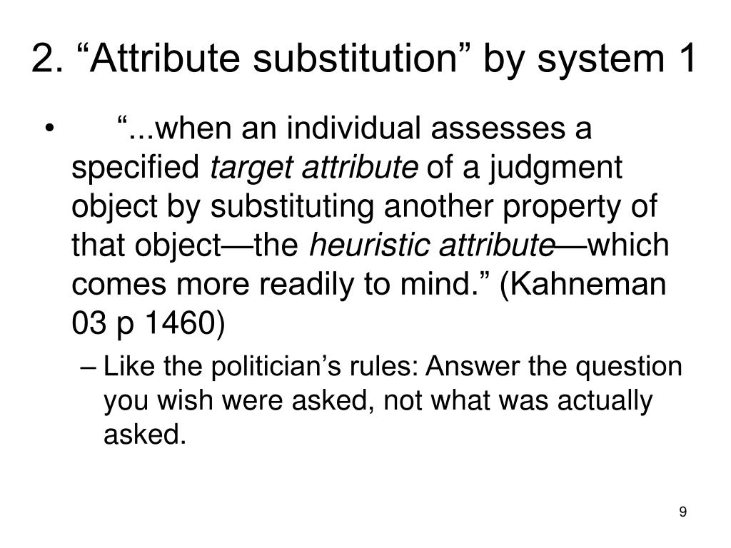 """2. """"Attribute substitution"""" by system 1"""