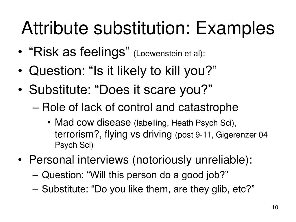Attribute substitution: Examples