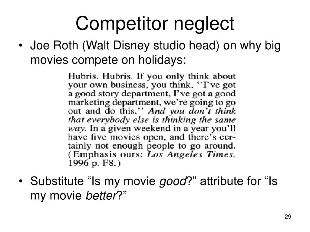 Competitor neglect