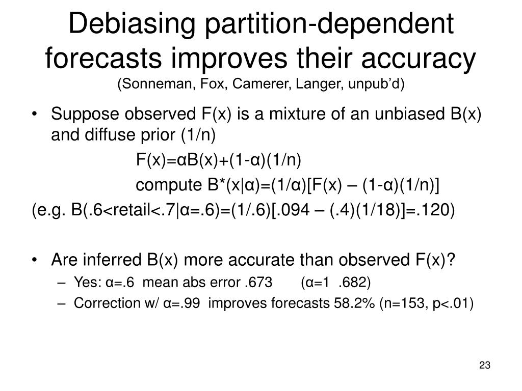 Debiasing partition-dependent forecasts improves their accuracy