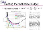 coating thermal noise budget