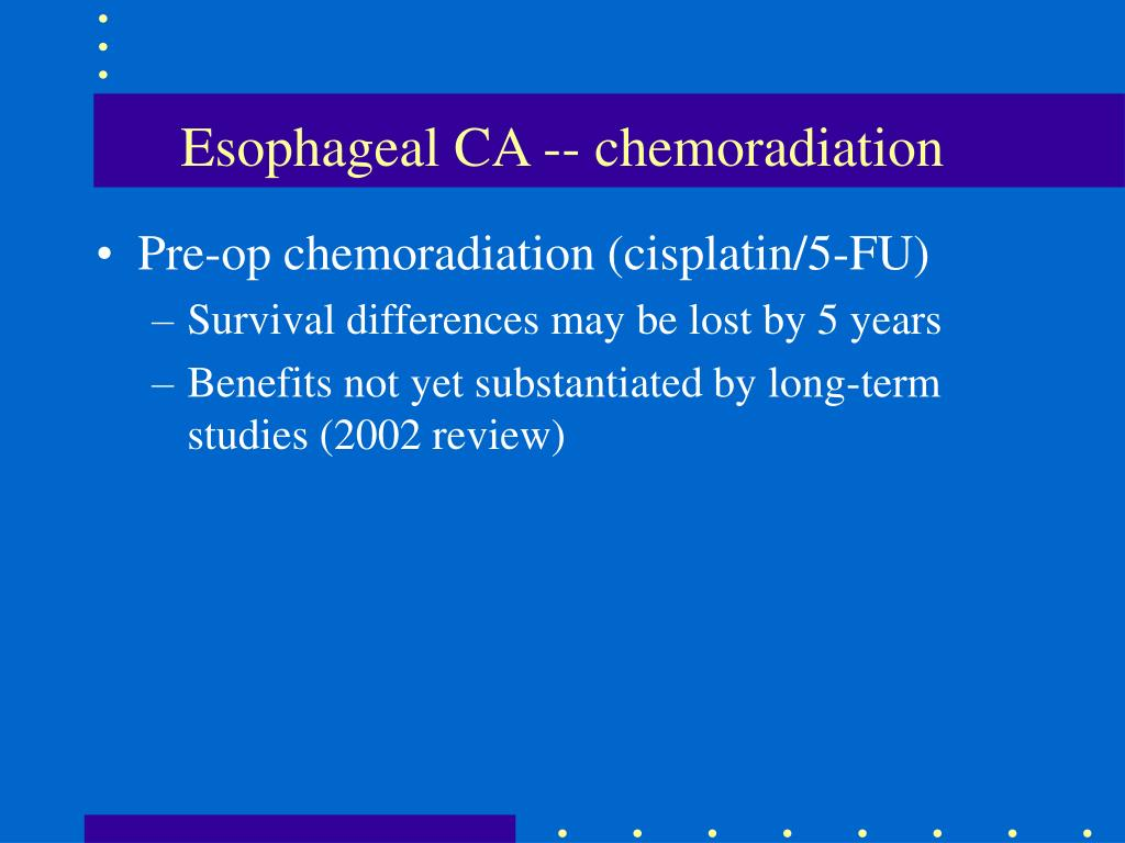 Esophageal CA -- chemoradiation
