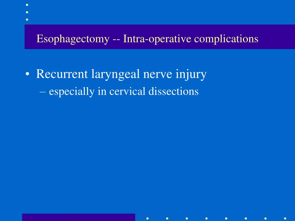 Esophagectomy -- Intra-operative complications