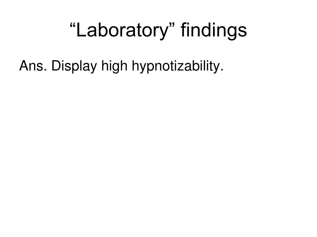 """Laboratory"" findings"