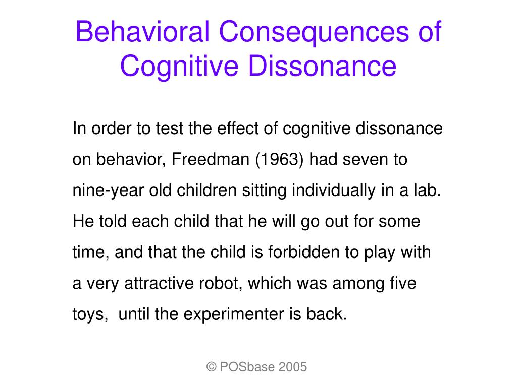 Behavioral Consequences of Cognitive Dissonance