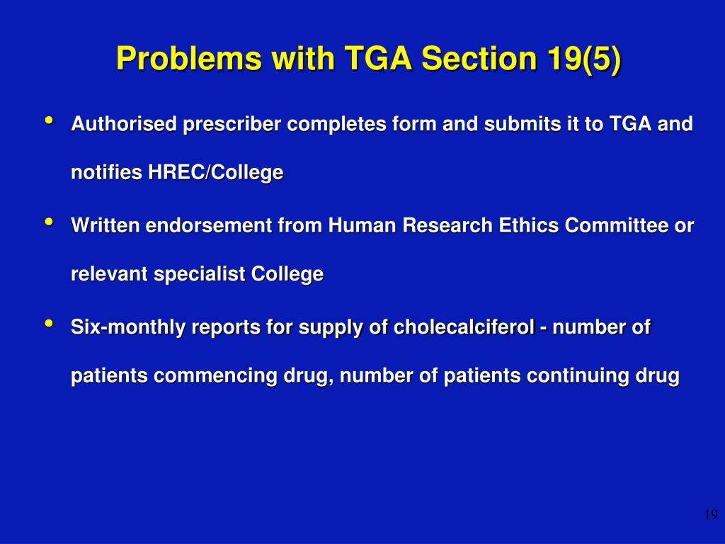 Problems with TGA Section 19(5)