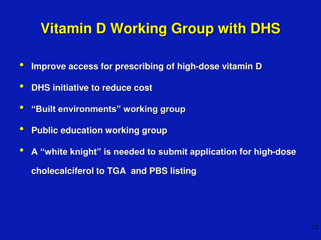 Vitamin D Working Group with DHS
