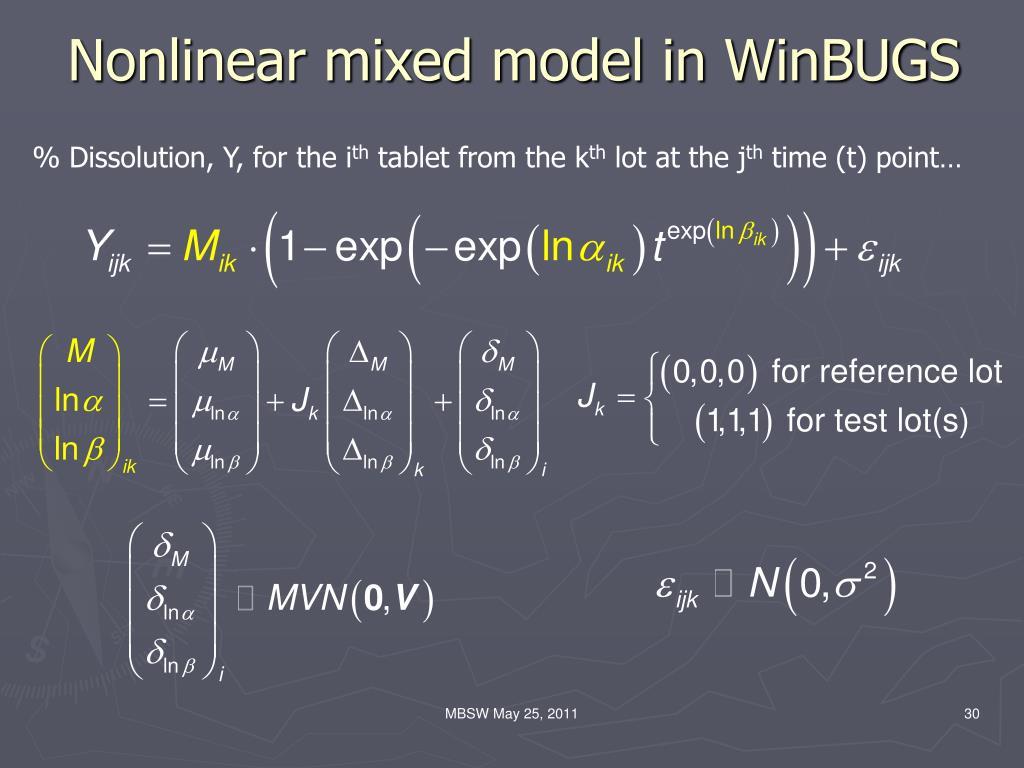 Nonlinear mixed model in WinBUGS