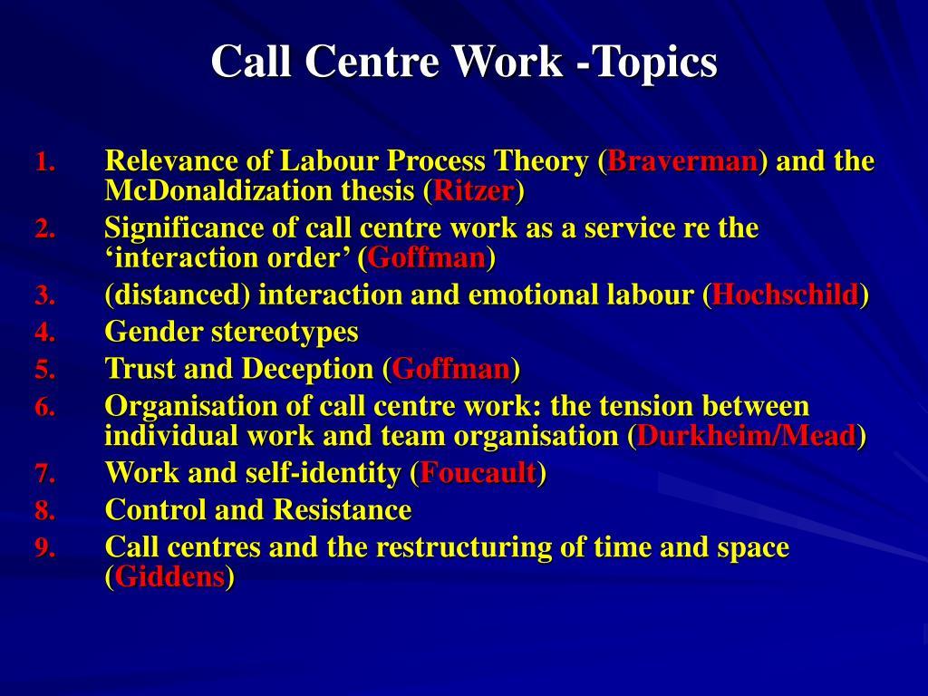 call centre work topics l.