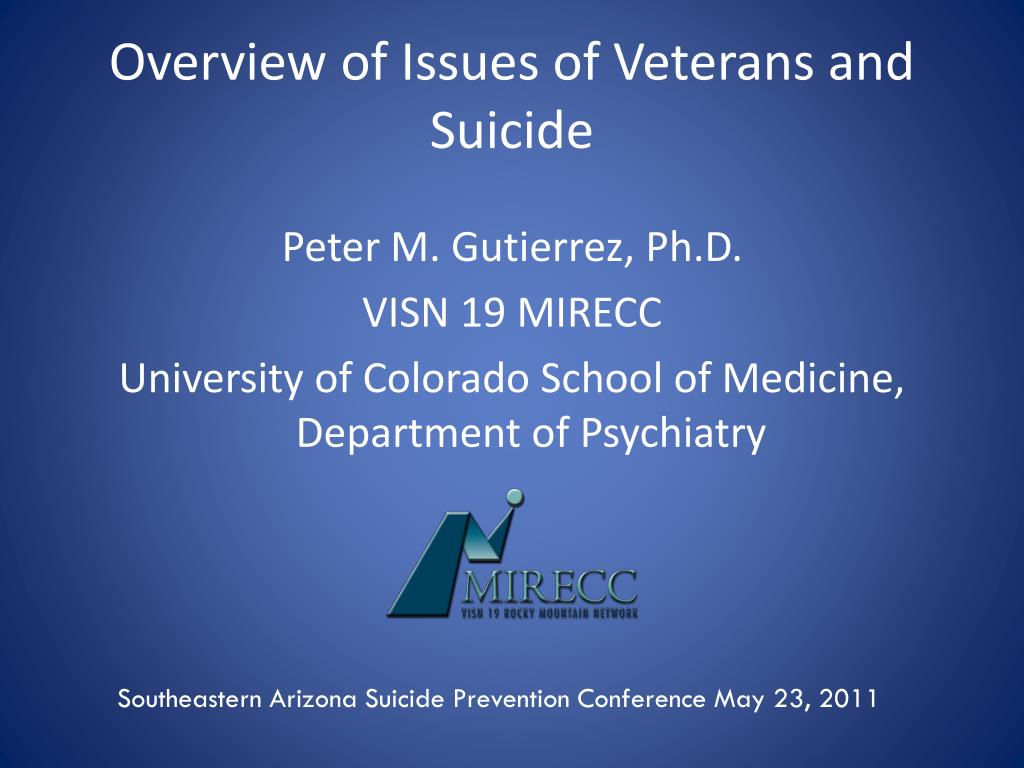 overview of issues of veterans and suicide l.