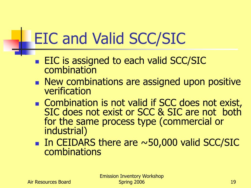 EIC and Valid SCC/SIC