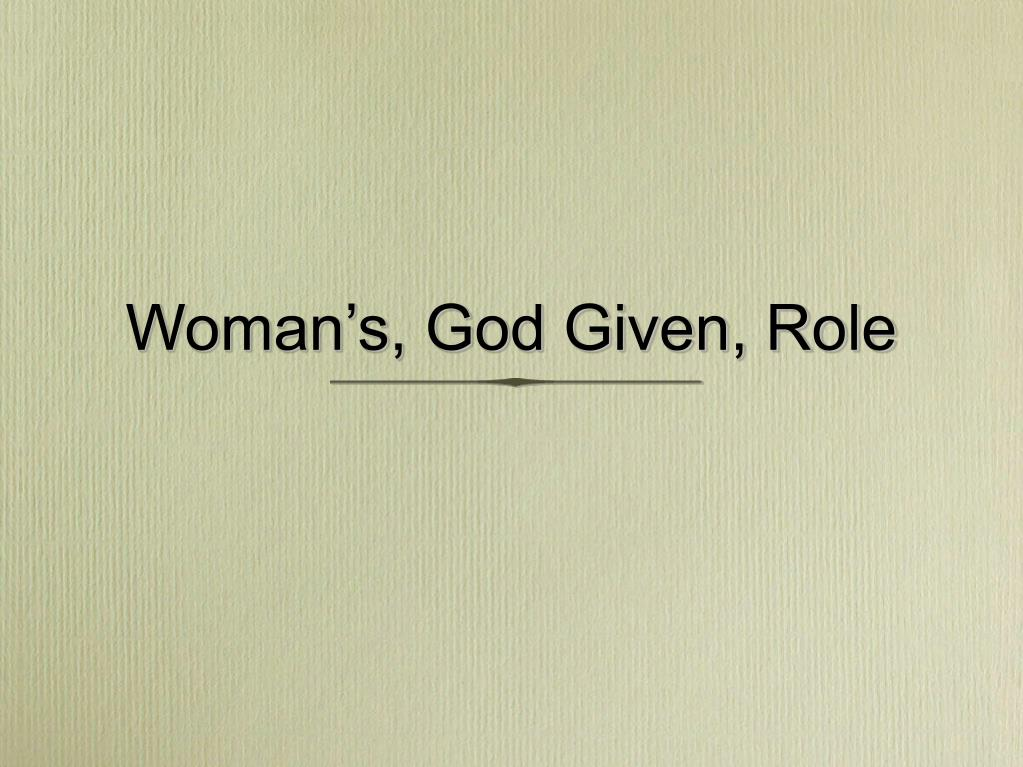 woman s god given role l.