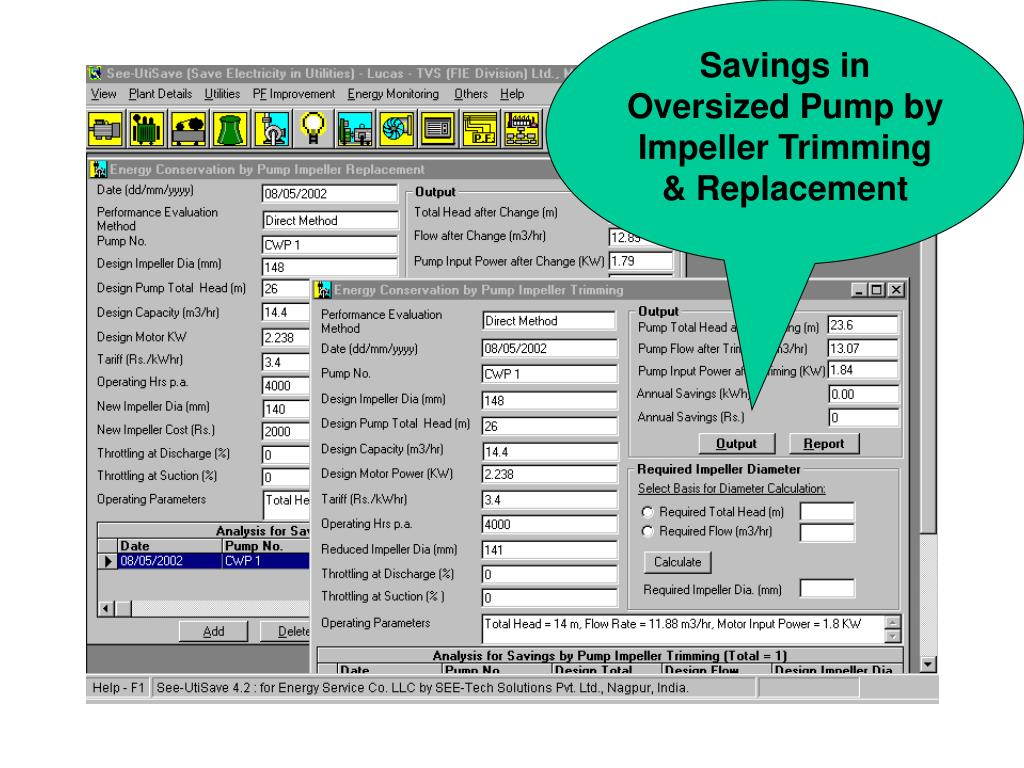 Savings in Oversized Pump by Impeller Trimming & Replacement