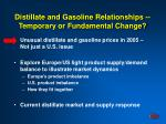 distillate and gasoline relationships temporary or fundamental change