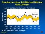 gasoline inventory fall 2004 and 2005 are quite different