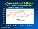 in response to price u s distillate yields have been unusually high