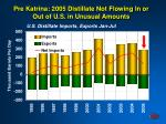 pre katrina 2005 distillate not flowing in or out of u s in unusual amounts