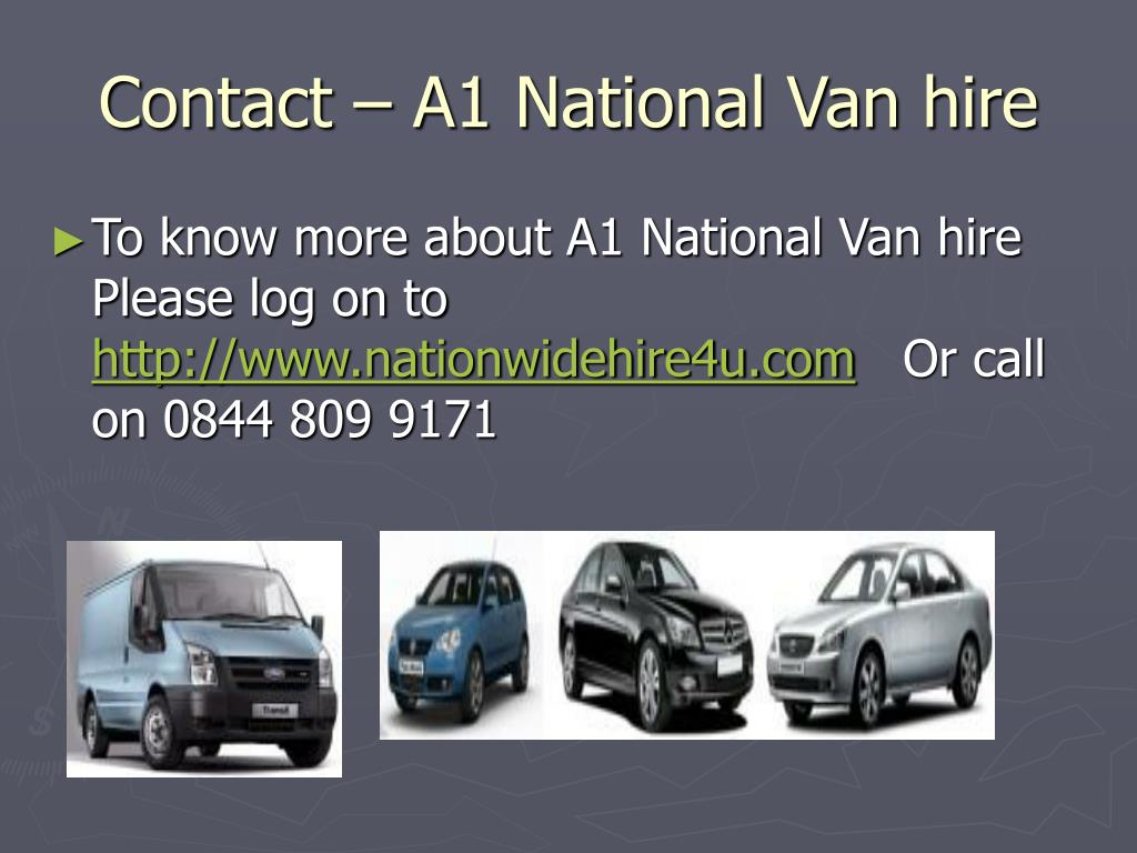 Contact – A1 National Van hire