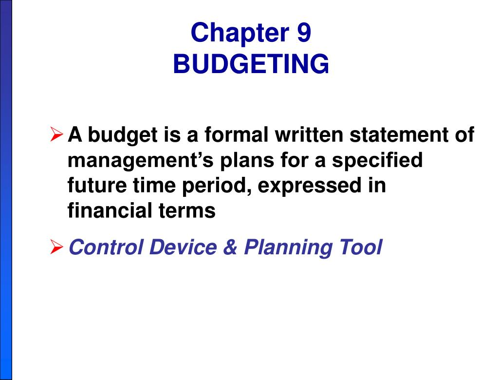 chapter 9 budgeting l.