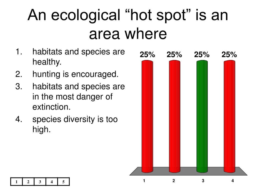 "An ecological ""hot spot"" is an area where"