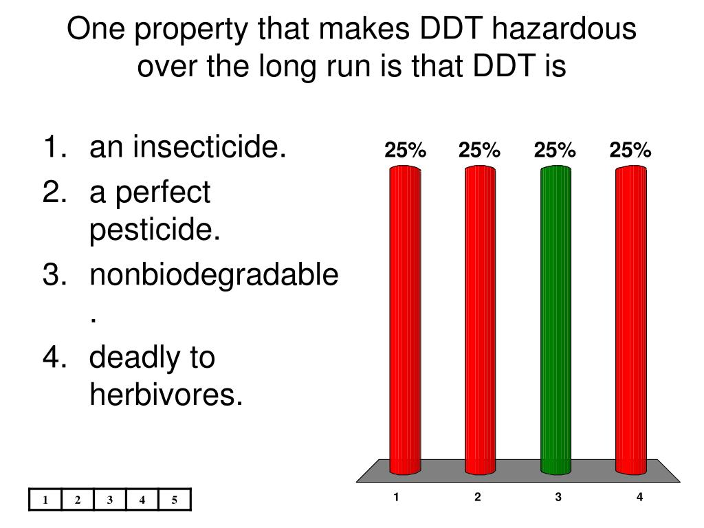 One property that makes DDT hazardous over the long run is that DDT is