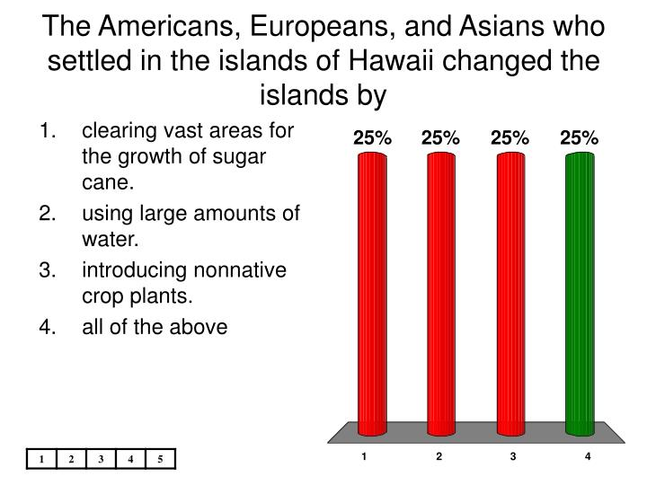 The americans europeans and asians who settled in the islands of hawaii changed the islands by