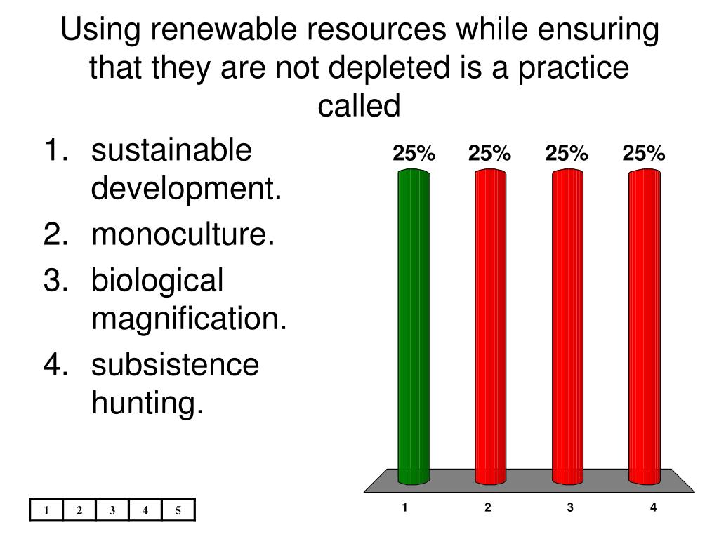 Using renewable resources while ensuring that they are not depleted is a practice called