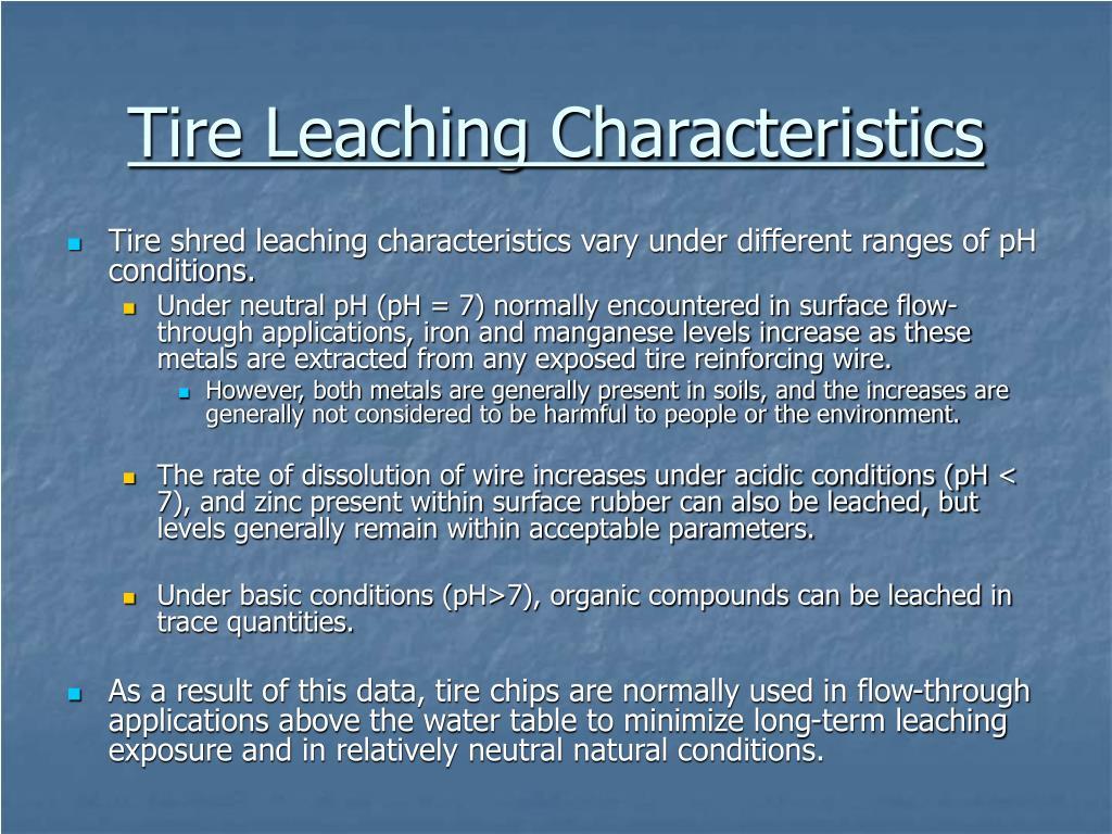 Tire Leaching Characteristics