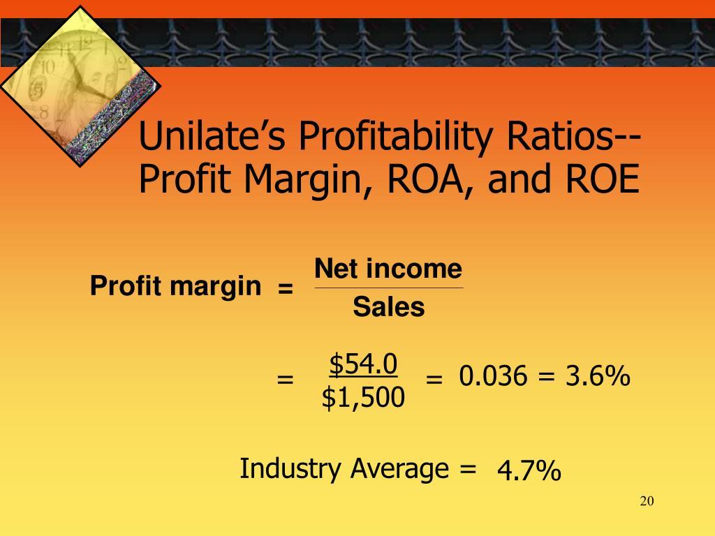 financial ratios and net profit margin