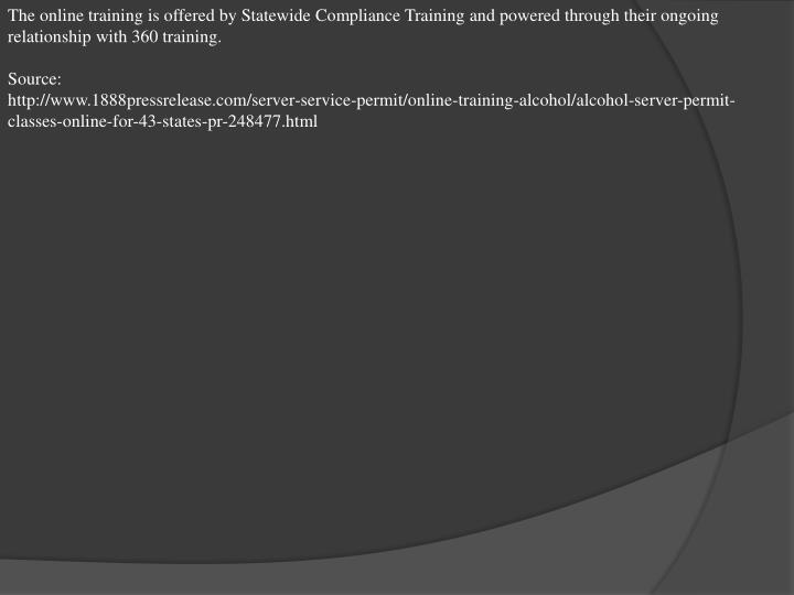 The online training is offered by Statewide Compliance Training and powered through their ongoing re...