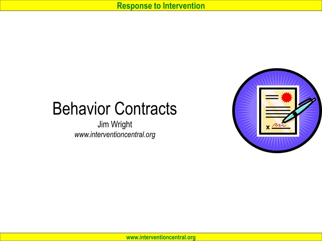 behavior contracts jim wright www interventioncentral org l.