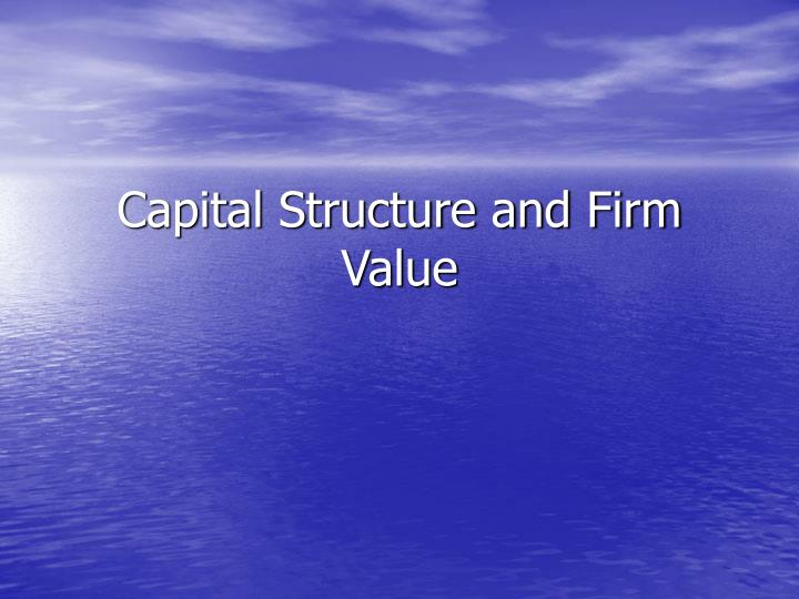 capital structure and firm value n.