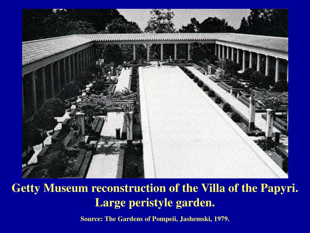 Getty Museum reconstruction of the Villa of the Papyri. Large peristyle garden.