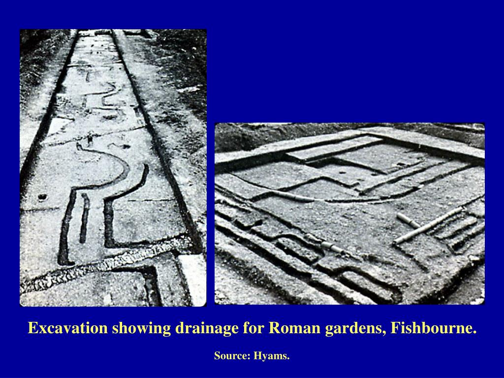 Excavation showing drainage for Roman gardens, Fishbourne.