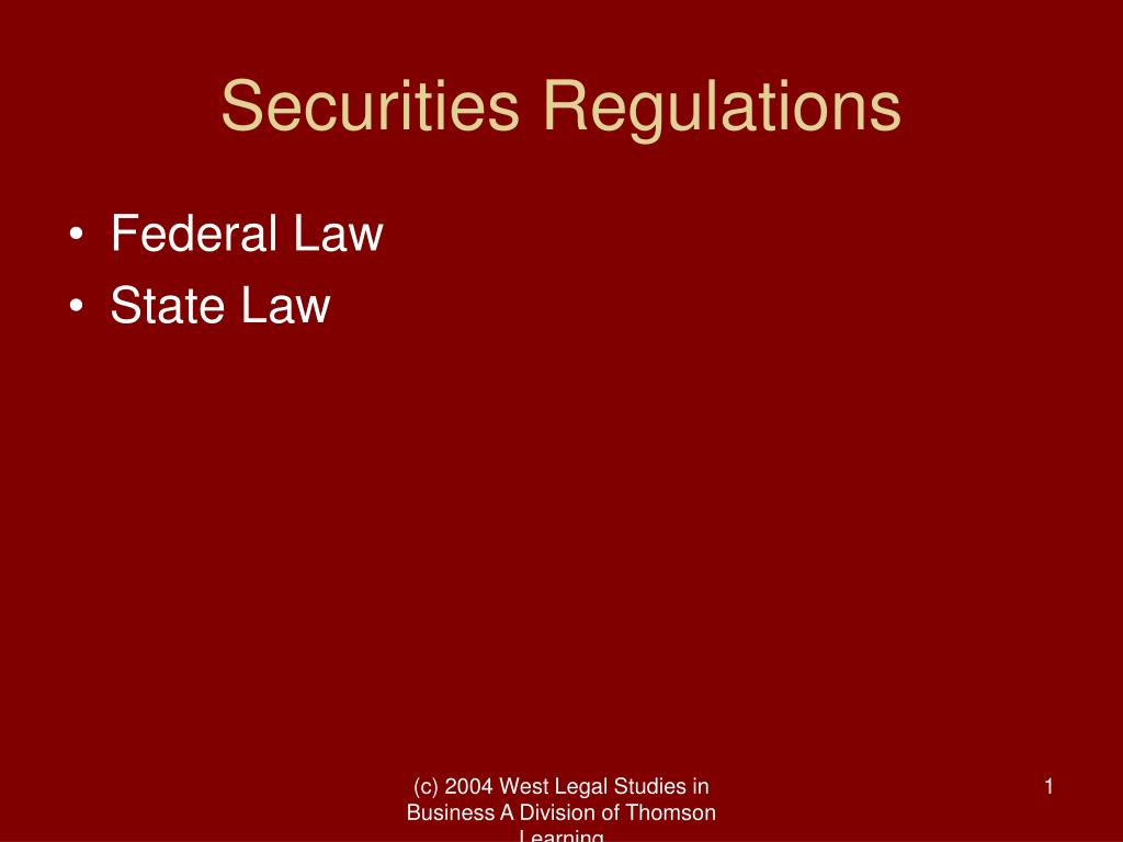 securities regulations l.