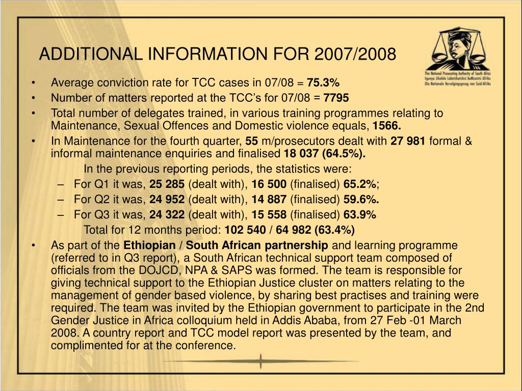 ADDITIONAL INFORMATION FOR 2007/2008