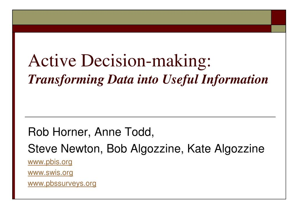active decision making transforming data into useful information l.