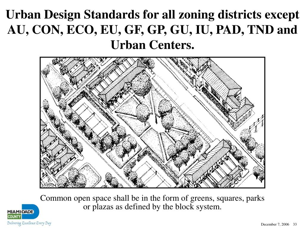 Urban Design Standards for all zoning districts except AU, CON, ECO, EU, GF, GP, GU, IU, PAD, TND and Urban Centers.