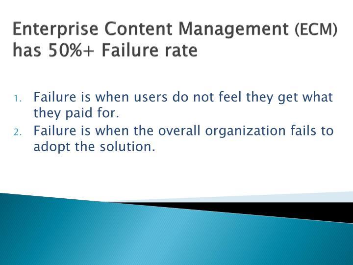 enterprise content management ecm has 50 failure rate n.