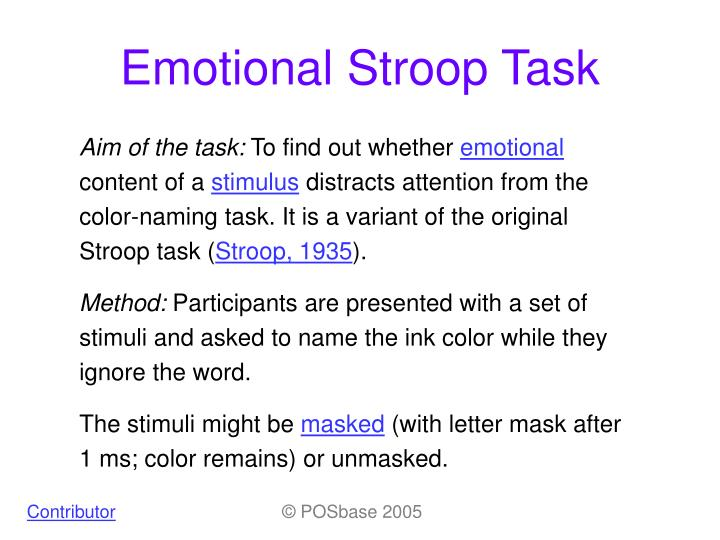 the aim of stroop effect Running head: advanced stroop effect 2 abstract this study further examined the well-known process of the stroop effect and experiment by jr stroop through an advanced stroop task.