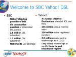 welcome to sbc yahoo dsl