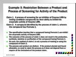 example x restriction between a product and process of screening for activity of the product