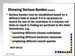 showing serious burden cont