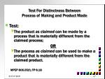 test for distinctness between process of making and product made