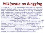 wikipedia on blogging