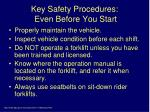 key safety procedures even before you start