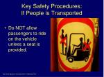key safety procedures if people is transported