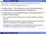 defining funding source in commitment control functions of the funding source